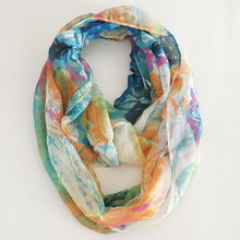 2019 New Fashionable Thin Sheer Floral Print Polyester Women Ring Scarf Lightweight Infinity Small Soft Scarf 180*45 cm цена 2017
