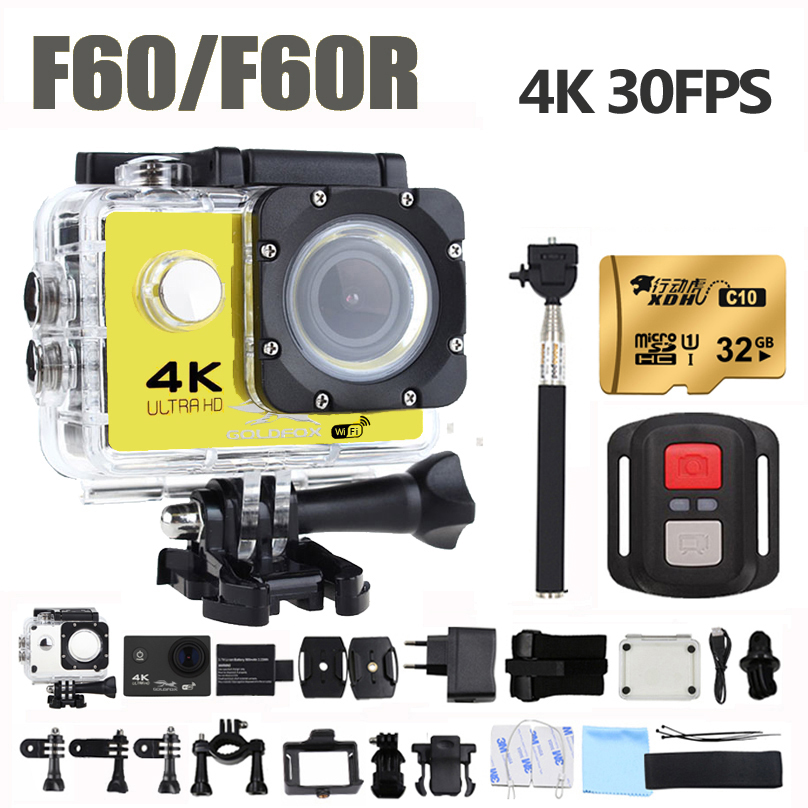 GOLDFOX F60/F60R Ultra HD Action camera 4K 30Fps 16MP Wifi Camera 1080P 60fps waterproof Cam Helmet Bike Cam Sport Video camera campark wifi sport action camera 2k hd 30fps hd 1 5 tft lcd 1080p 60 fps 16mp action cam digital camcorder hdmi output