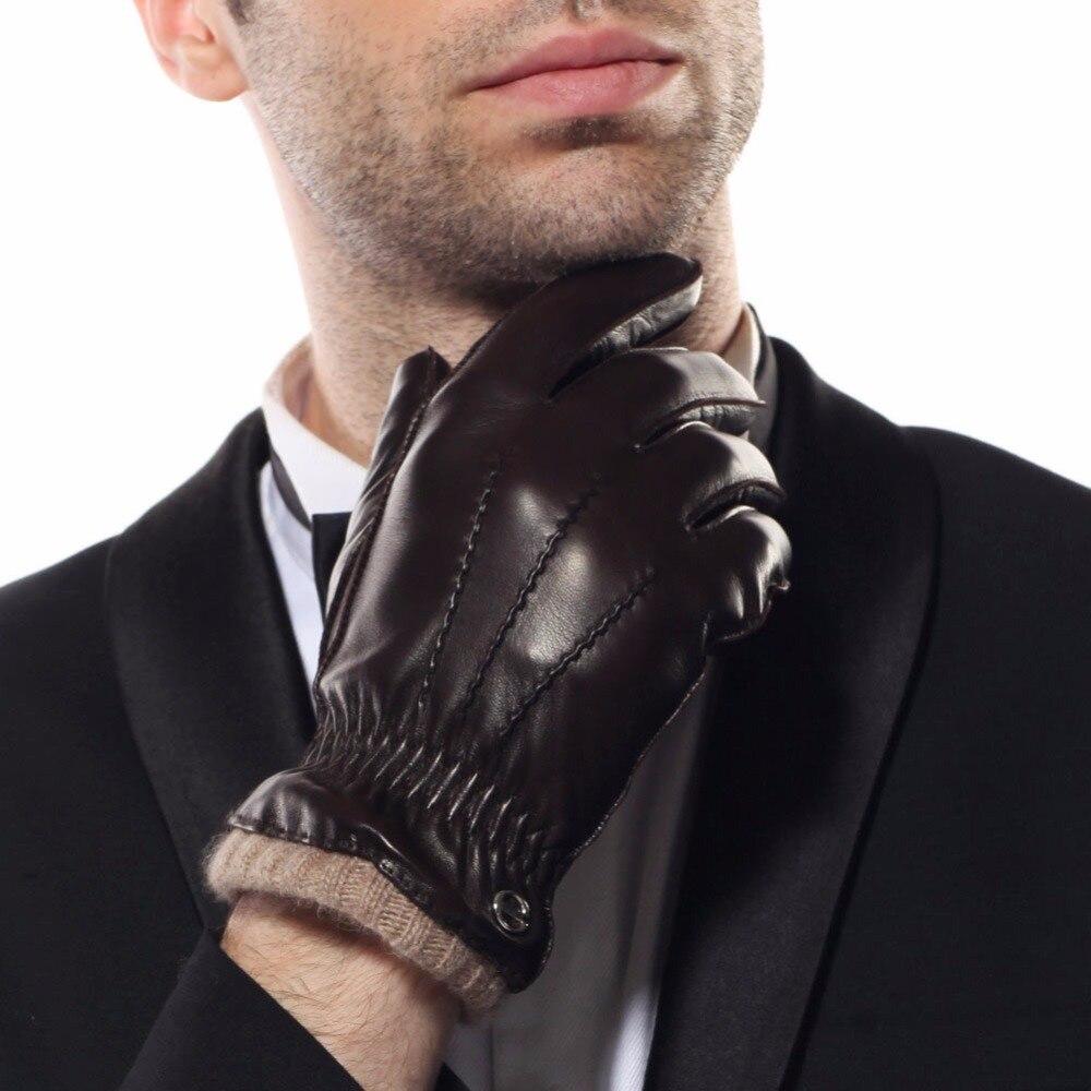2018 Новый Для мужчин из натуральной кожи перчатки мужской осень-зима кашемир трикотажной подкладке Для мужчин Вождение овчины кожаные перча...