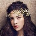New Baroque Jewelry Vintage Gold Leaf Pearl Headband Hair Accessories Bridal Headwear Wedding Hair Jewelry For Brides Z0923