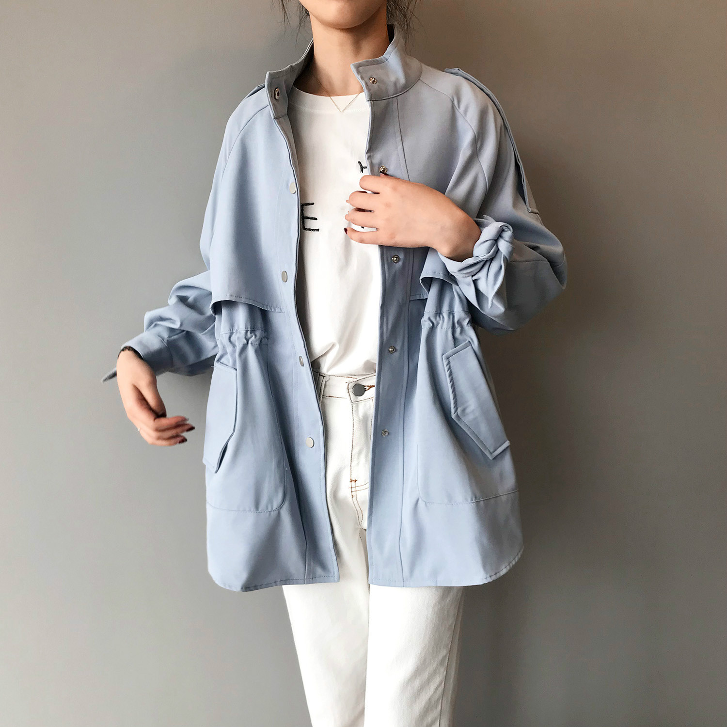 High End Woman Windbreaker Loose Long Blue   Trench   Coat Girls Long Sleeve Casual Streetwear Button Tops Ladies Clothing Vintage
