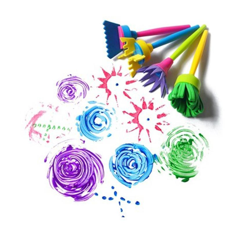 4Pcs/set Rotate Spin Sponge Paint Brush Kids Children Flower Graffiti Art Drawing Painting Toys Tool School Stationery Supplies