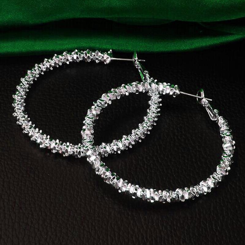 Fashion Hoop Earring Silver-Color Big Hoop Earrings Fine Jewelry Hypoallergenic Earrings For Women