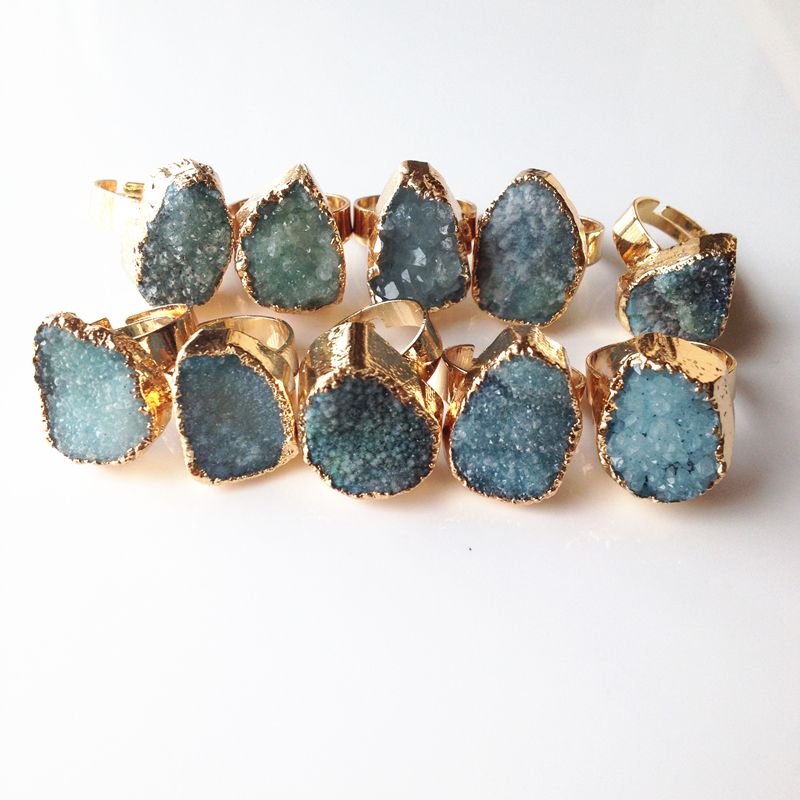 Ny geometrisk Druzy Ring Mange farger Alternativer Natural Quartz Crystal Drusy Druzy Rings