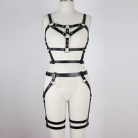 Faux Synthetic Leather Belt Set Black Up And Down Sexy Body Garters Belt Suit Adjustable Waist To Leg Shoulder Strap To Bra Belt