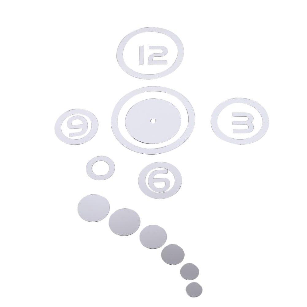DIY 3D зеркальные настенные наклейки настенные часы художественная роспись домашний Декор Гостиная ТВ Фоновые наклейки настенные часы кварцевые иглы - Цвет: A Silver