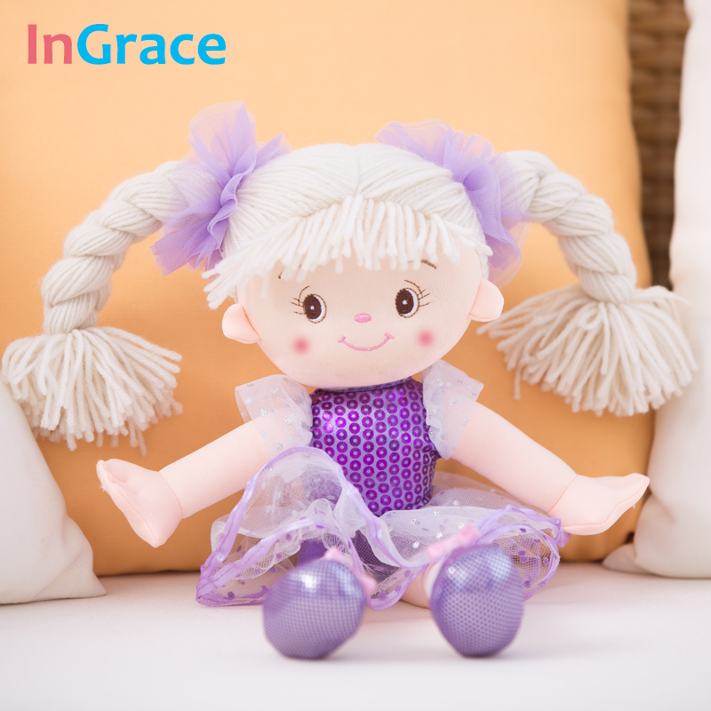 InGrace brand sweet princess girl doll cute dollerina dolls for girls with veil and headwear 35CM cute handmade toy plush ungu