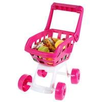 15.7 ''mini carrinho de compras com simulação de frutas garrafas crianças pretend play toy fun meninas brincar de casinha de brinquedo comida play set