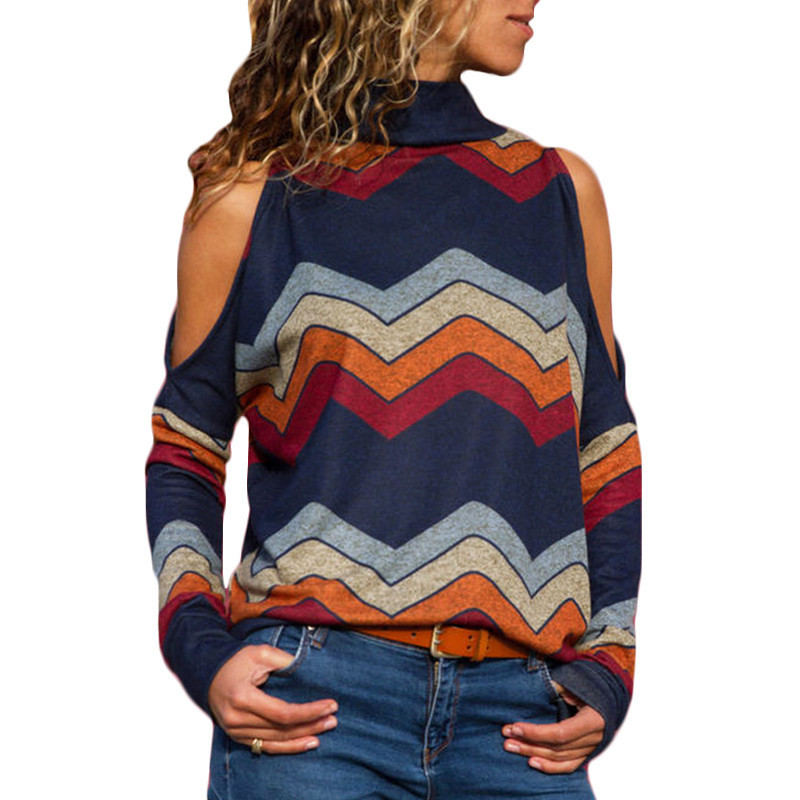 Women Blouses Sexy Cold Shoulder Tops Casual Turtleneck Knitted Top Jumper Pullover Print Long Sleeve Shirt Blusas Camisas Mujer(China)