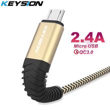 KEYSION 2.4A Micro USB Cable Fast Charge Data Nylon Sync Cord  For Samsung Huawei Xiaomi Android usb phone