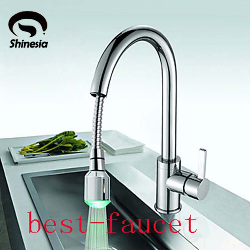 Brass Chrome Finish Pull Down Spray Color Changing LED Kitchen Faucet Mixer Tap