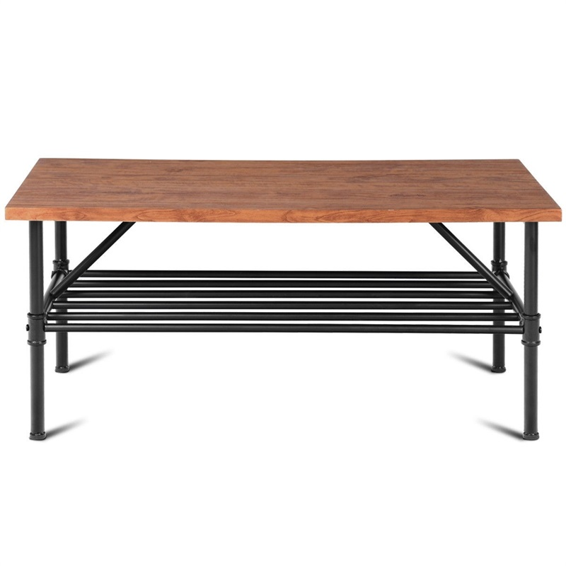 Haute qualité 2-Tier salon meubles étagère Table basse stockage étagère Stable en acier Tube grand bureau Table d'extrémité HW58647
