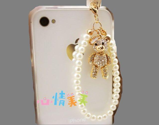 Fashion Cartoon New Pearl Chain Bear Mobile Phone Dust Plug Ear Cap Dust Plug