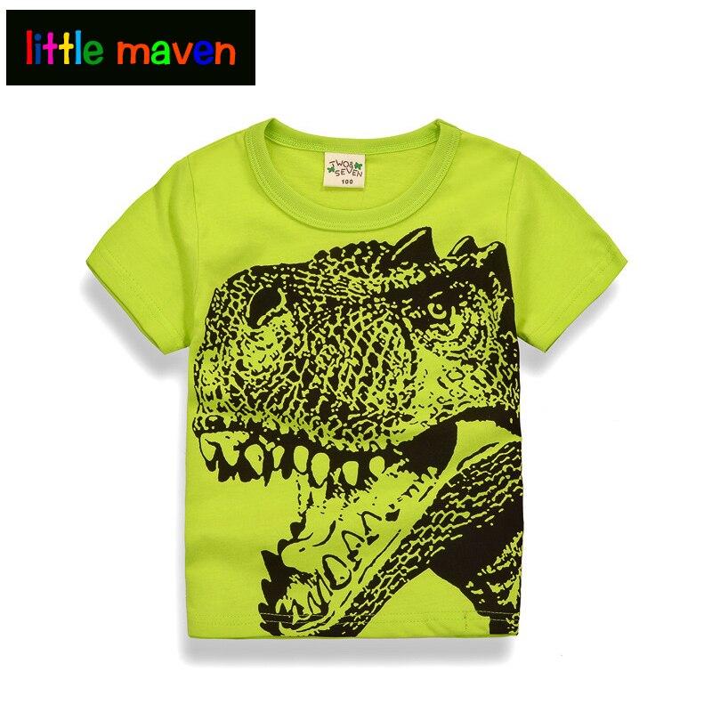 2017 Letní chlapecké košile s dinosaurem Jurassic Parku Tisk Jedinečný design Bavlněný chlapeček Oděv pro děti Topy Teesin 2-10 let