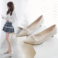 Summer Solid Color Patent Leather Lace Up Pointed Thin High Heels With Bow Shallow Mouth Shoes