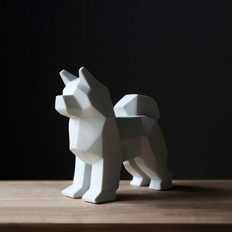 Exquise mignon fait à la main en céramique pour animaux de compagnie chien statue décoration Schnauzer Schnauzer sculpture ameublement-in Statues et sculptures from Maison & Animalerie    2