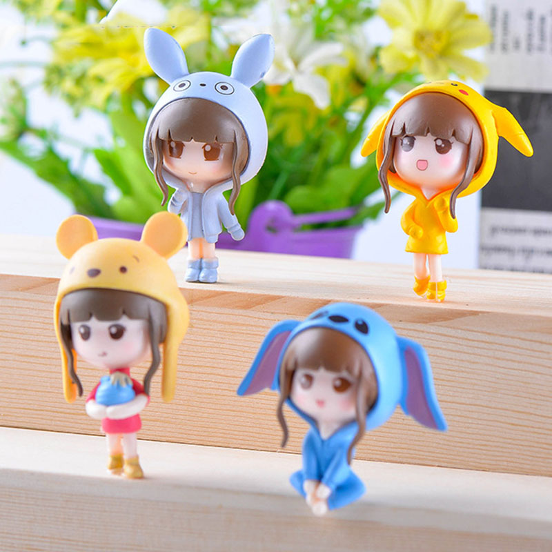 4 Pcs/set Japan Anime Cute Girl Miniature Ornament DIY Fairy Garden Micro Dollhouse Plant Pot Decor Bonsai Terrarium Ornament