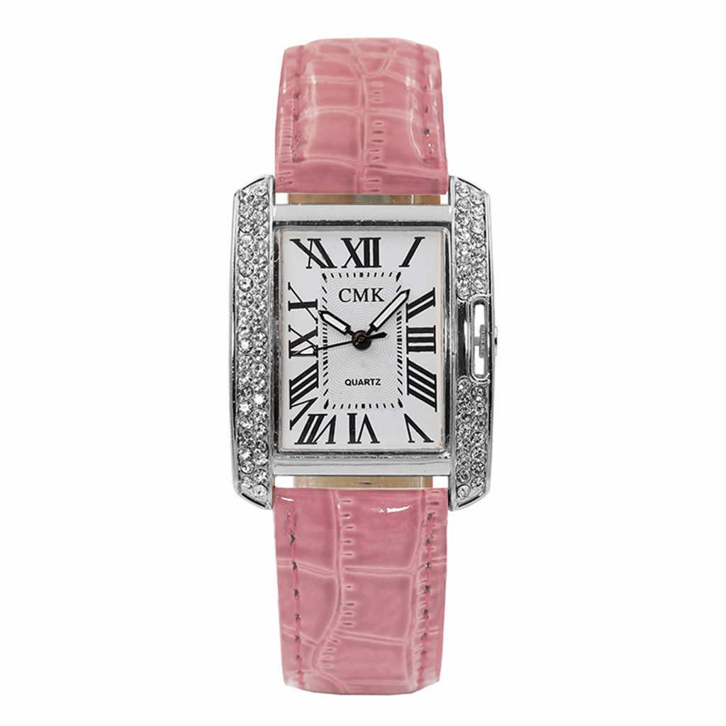 ファッションの女性の革ベルトアナログクォーツ正方形韓国ラインストーン腕時計女性腕時計時計ギフト高品質ドロップシップ #924