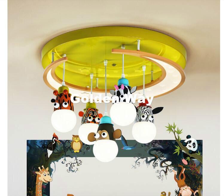 Livraison Gratuite Cartoon Animaux Style Enfants Plafond lampes Enfants Chambre E27 AC À Distance contrôlée Inclus Enfants Chambre Plafond Lampe