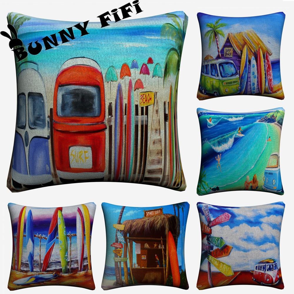 Surf And Bulli Bus Travel 45 x 45 cm Cotton Linen Sofa Seat Car Pillow Cover For Sofa Bed Cushion Cover Home Decor Almofada