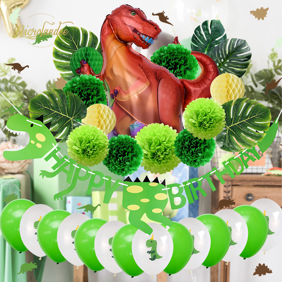NICROLANDEE 32 pcs set Dinosaur Child Kid Happy Birthday Party Decoration Kit Roar Kids 1st Green Home New DIY Party in Party DIY Decorations from Home Garden