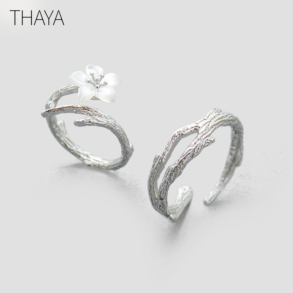 Thaya White Cherry Blossom Silver Ring s925 Silver Natural Pearl Shell Flower Branch Rings for Women Elegant Ladies JewelryThaya White Cherry Blossom Silver Ring s925 Silver Natural Pearl Shell Flower Branch Rings for Women Elegant Ladies Jewelry