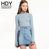 HDY Women Sweater Pullover Basic Knitted Tops Solid Essential Jumper Long Sleeve Sweaters Autumn Winter 2017