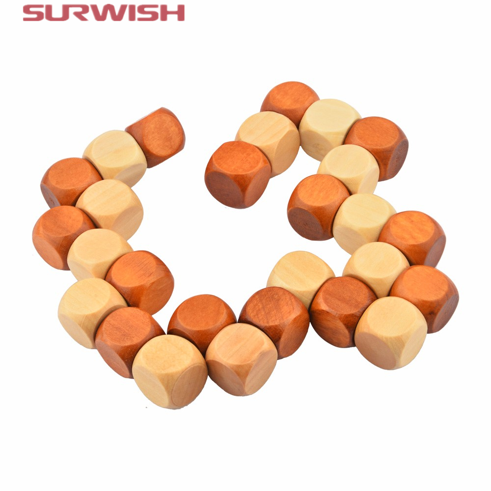 Surwish Snake Cube Wooden Brain Teaser Puzzle Toy Wooden Puzzle Cube/Educational Toy Kong Ming/Luban Lock for Adult Children moyu moyan the devils eye ii cube puzzle magic cube brain teaser educational toy