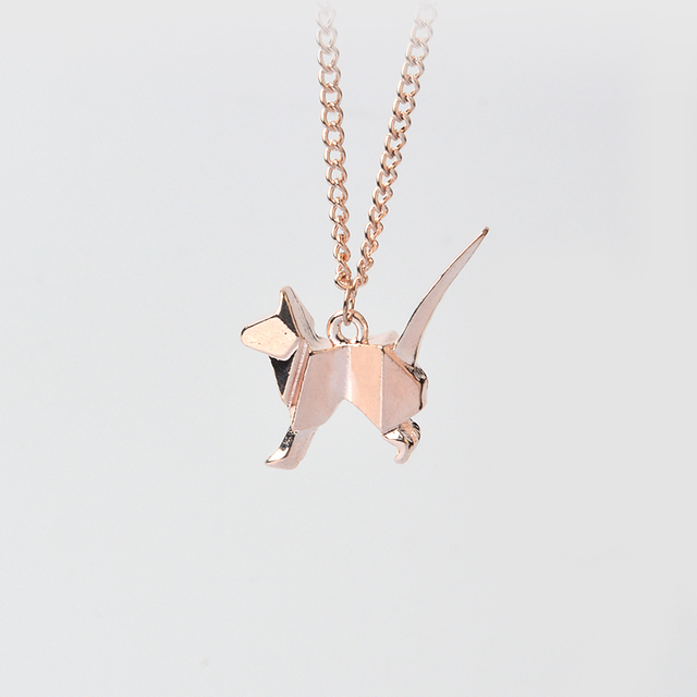 Origami Cat Kitty Pendant with Chain