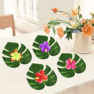 Image 5 - 빈티지 웨딩 장식 테이블 천으로 공급 12 개/몫 패브릭 녹색 인공 팜 잎 하와이 테마 파티 장식, Q