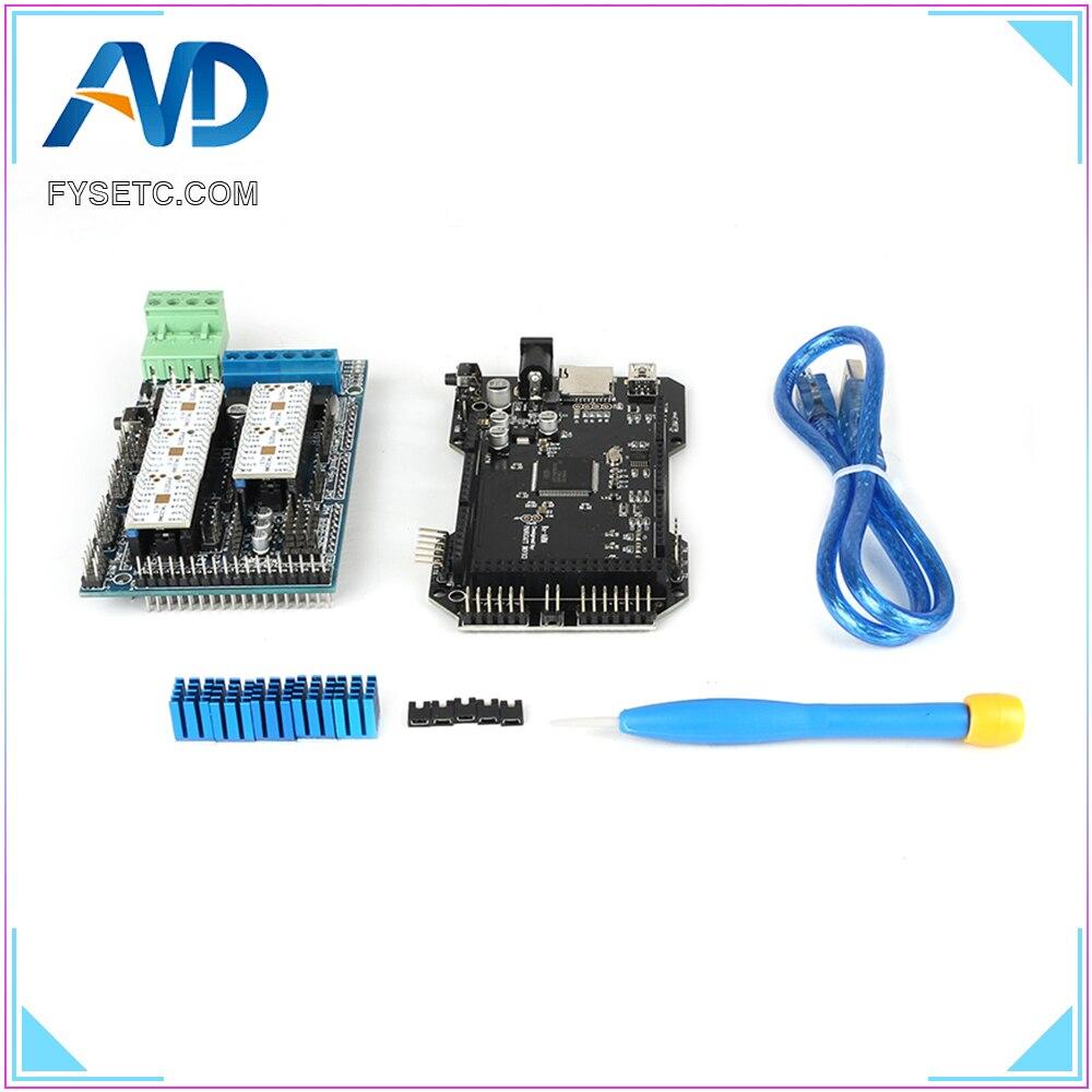 Imprimante 3D pièces RE-ARM carte de contrôle 32 bits mise à niveau Mega 2560 R3 + rampes 1.5 panneau de commande + 5 pcs TMC2208 V1.2 UART moteur pilote