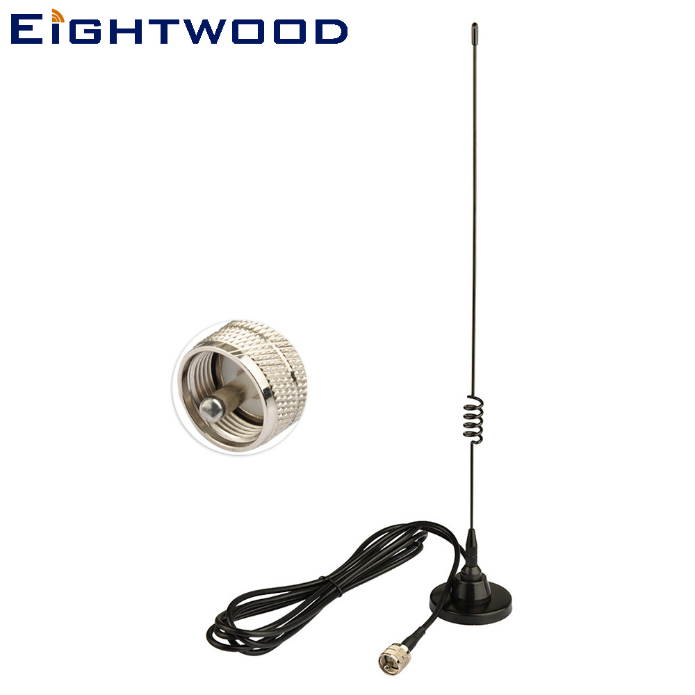 Eightwood Voiture Camion Double Bande VHF UHF 136-174 mhz 400-470 mhz UHF PL259 Adaptateur CB Mobile radio Antenne Magnétique