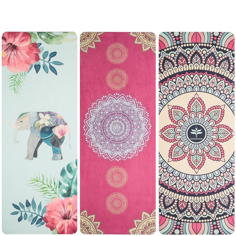 1.5mm Printed Yoga Mat Natural Rubber 183*68cm Anti Slip Foldable Exercise Mat For Fitness Pilates Gymnastic Travel Mat