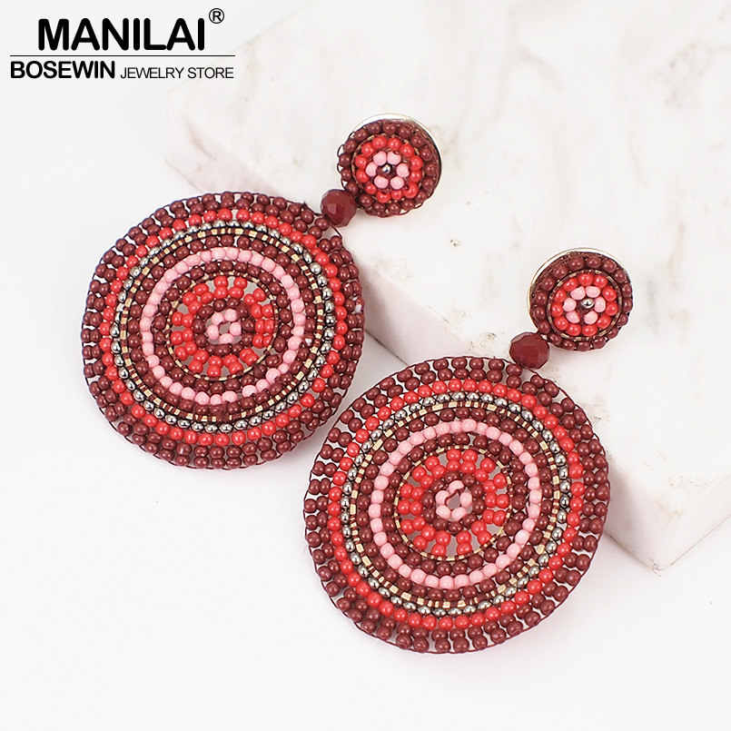MANILAI Bohemian Round Resin Beads Dangle Earrings Handmade Charm Statement Big Drop Earrings For Women Ethnic Jewelry