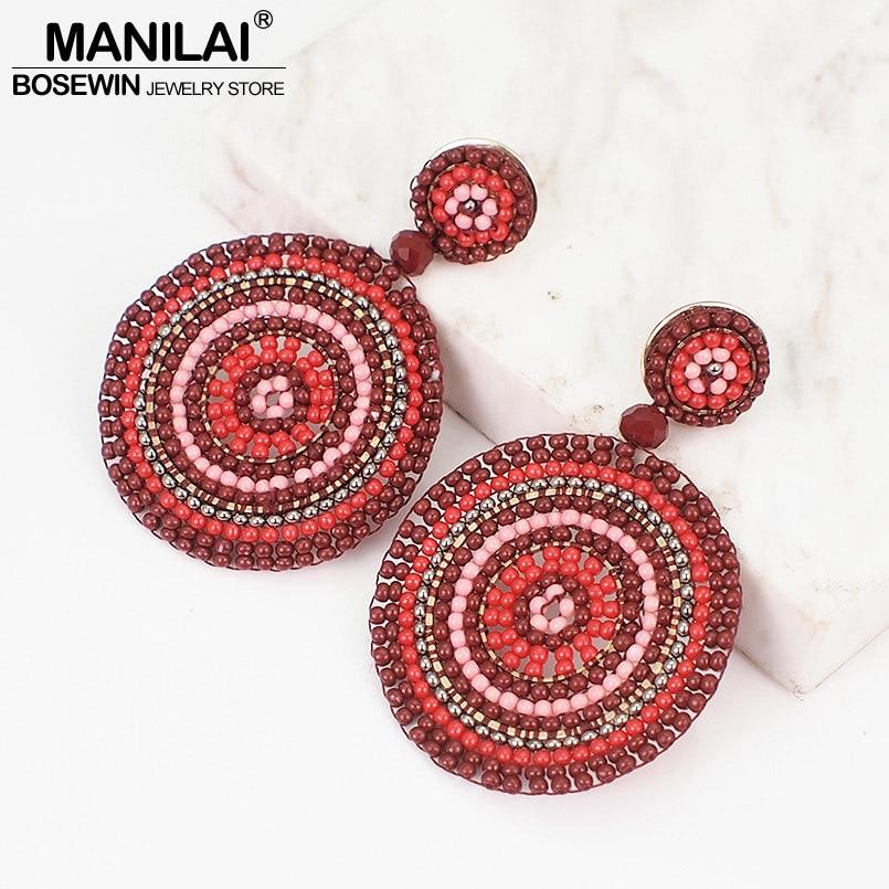 MANILAI Bohemian Round Resin Beads Dangle Earrings Handmade Charm Statement Big Drop Earrings For Women Ethnic Jewelry