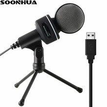 SOONHUA Estúdio USB Microfone Condensador de Som Profissional de Áudio Podcast Microfone Com Tripé Suporte de Montagem para PC Laptop Skype MSN