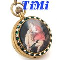 wholesale 100% Copper Antique Pocket Watch Mechanical Jewelry Art Painting Case Brown Dial