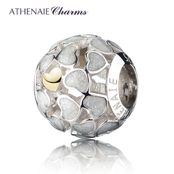 ATHENAIE 925 Sterling Silver White ABUNDANCE OF LOVE Enamel Openwork Charms Fit All European Bracelets Necklace Color White