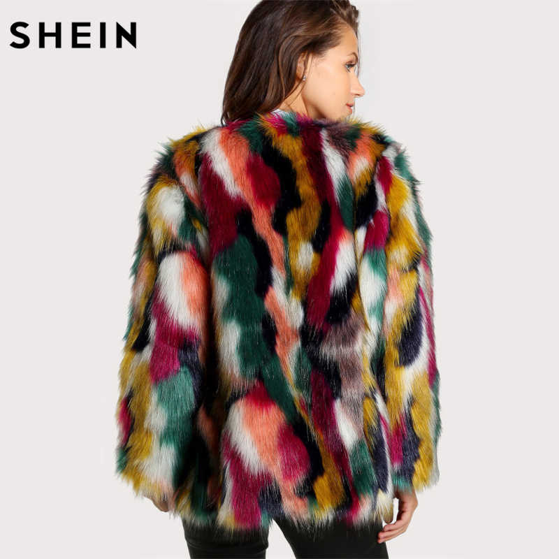 e5a49d8d35 ... SHEIN Women Elegant Fur Coats Colorful Faux Fur Coat Multicolor Long  Sleeve Collarless Casual Woman Winter ...