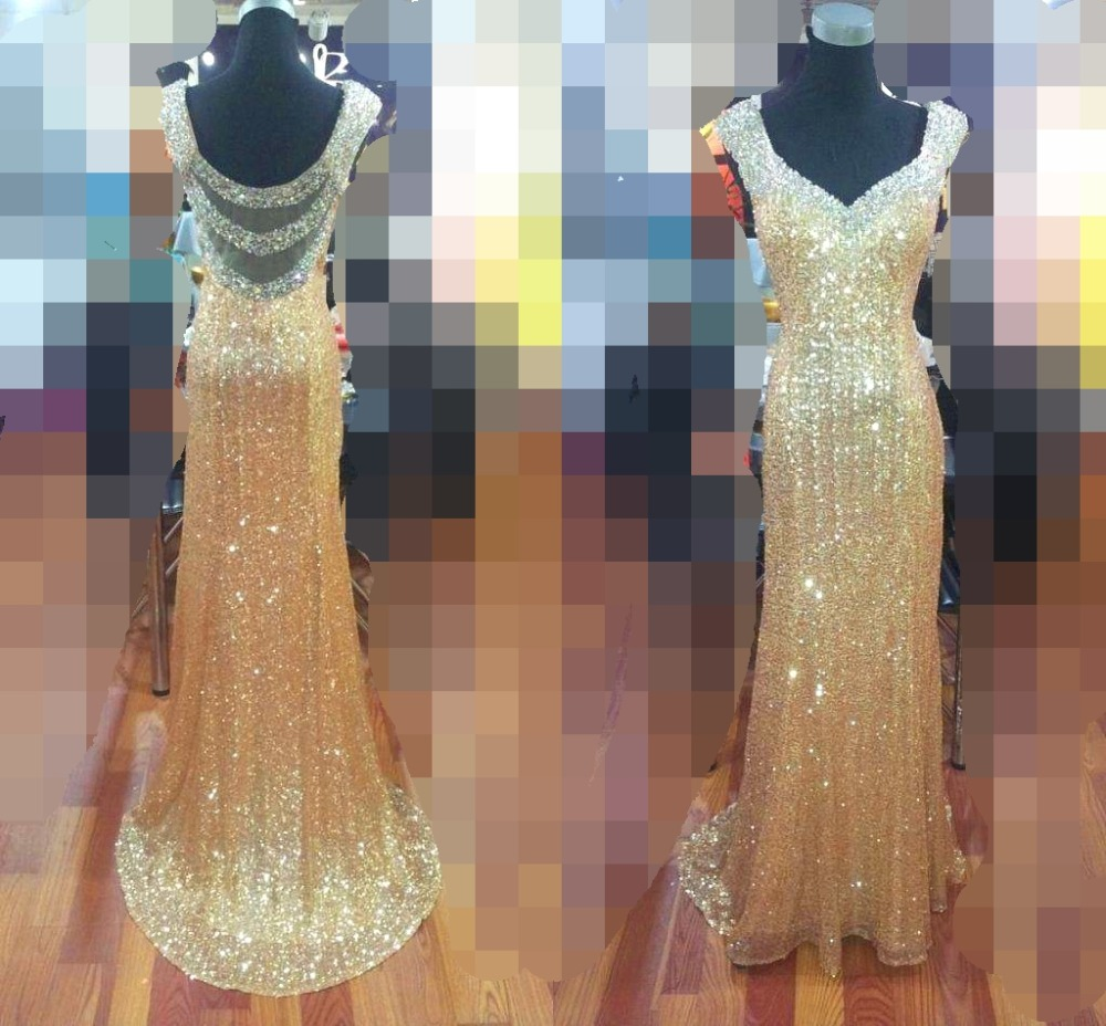 Sheer Back Gold Sequined Mermaid Prom Dresses 2019 Long Sexy Evening Dress Dazzling Crystal Formal Party Gowns Real Pic