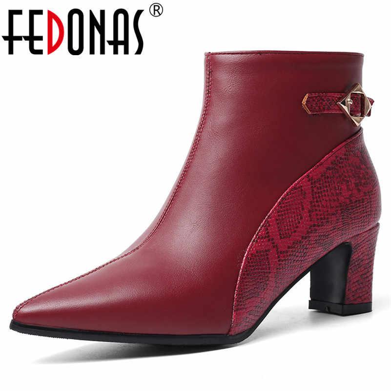 FEDONAS Ilkbahar Sonbahar Pu Deri Sivri Burun Yüksek Topuklu Kadın yarım çizmeler Zarif Parti Ofis Bayan Ayakkabıları Kadın Chelsea Çizmeler