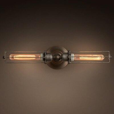 Edison Double T185 Cage Wall Stropní lampa Kované železné rustikální nastavení lampy 2 způsob použití