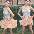 Arabic Homecoming Crew Neckline Sequins Shinning Sparkle Sequins Feather Short/Mini Cocktail Dresses