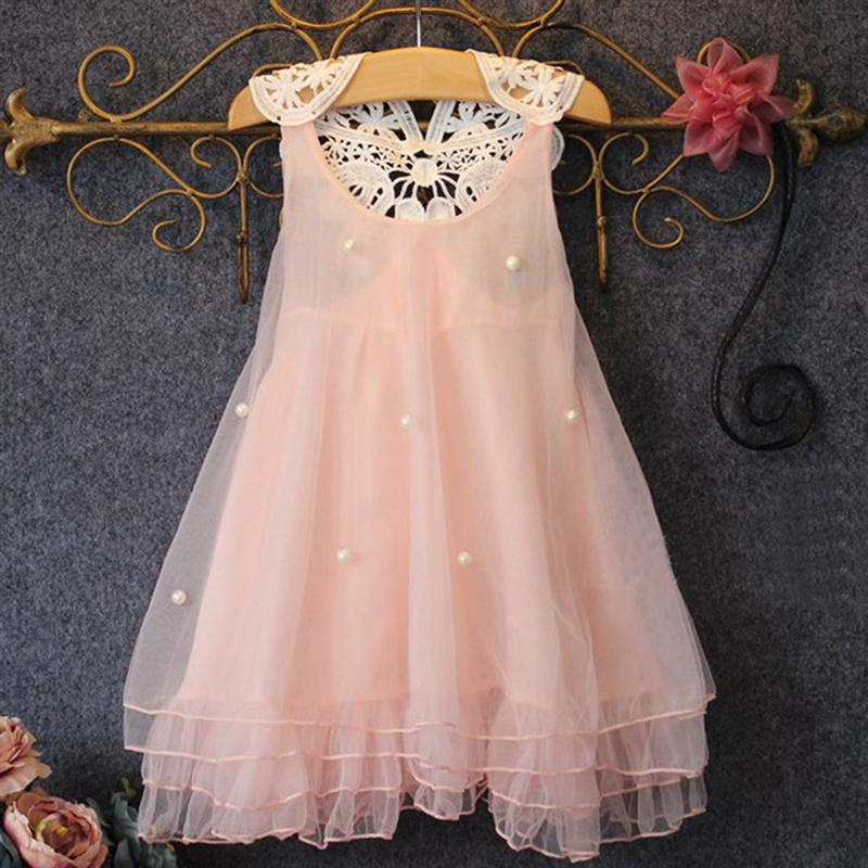2018 New Hot Fashion Baby Girl Clothes Sleeveless Summer Lace Pearl Girls Dress Flower Tutu Princess Kids Dresses For Girls girl dress 2 7y baby girl clothes summer cotton flower tutu princess kids dresses for girls vestido infantil kid clothes
