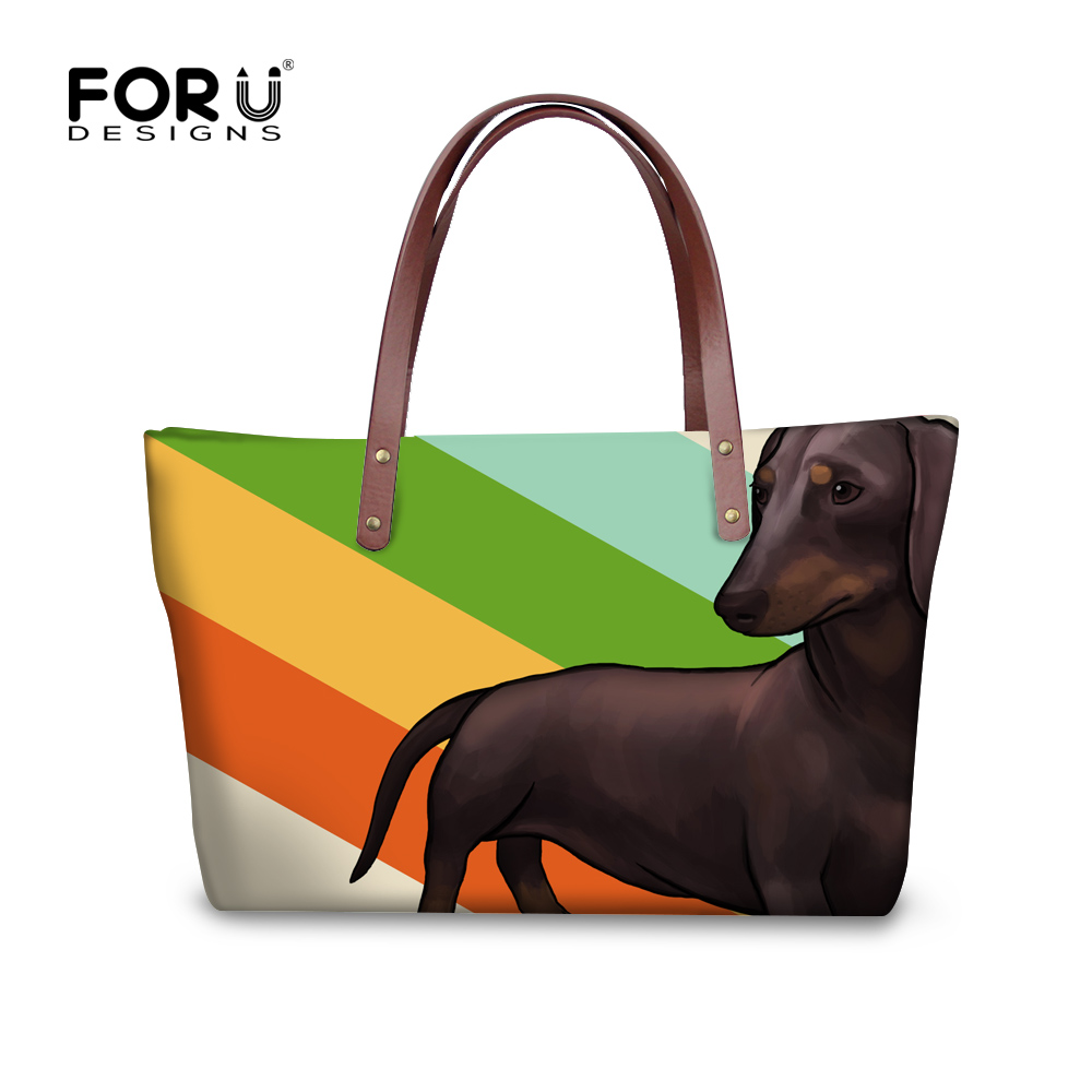 FORUDESIGNS Colorful Dachshund Dog Pattern Waterproof Women Handbag Shoulder Bags Casual Tote Ladies Travel Larger Bolso Mujer