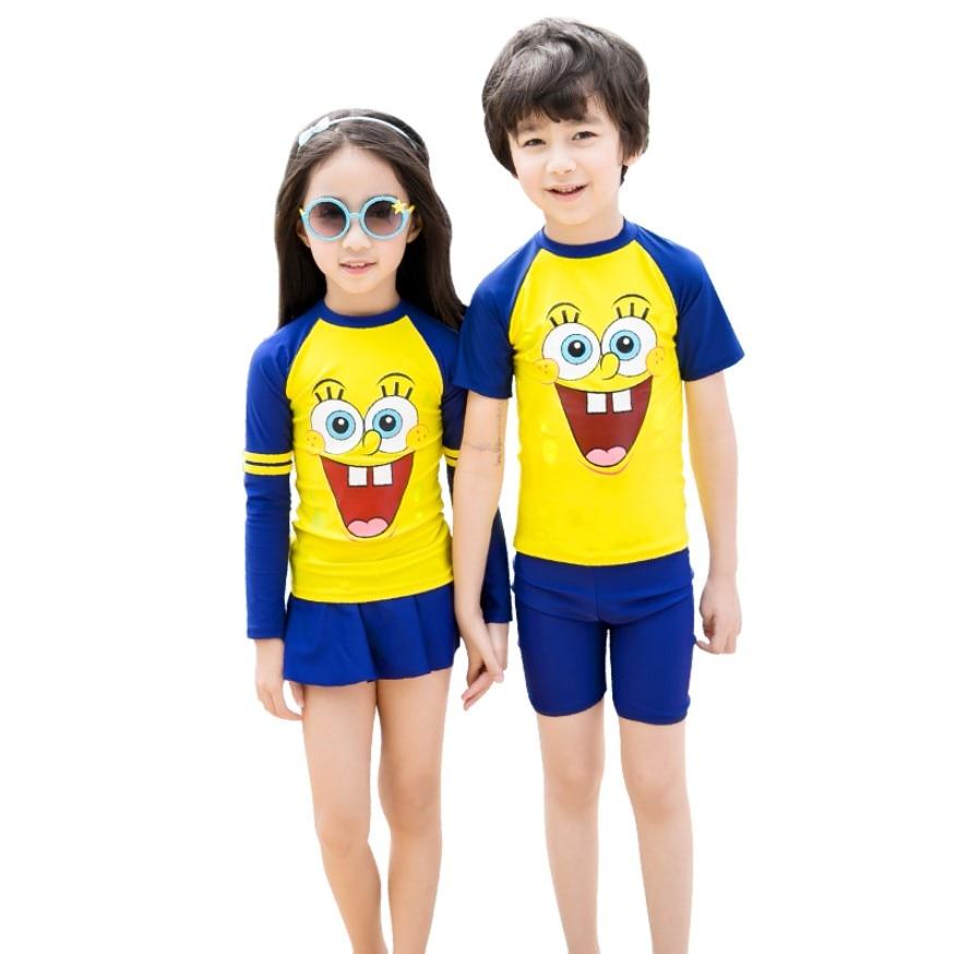 Kids Swimwear Long Sleeve Cartoon Children Boys Bathing Suit Toddler Girls Two Piece Swimsuit Rashguard Quick-dry Diving Suit