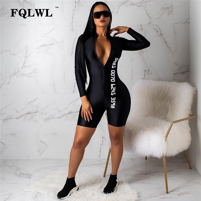 FQLWL Sexy Jumpsuit Shorts Fitness Rompers Bodycon Long-Sleeve Streetwear Black Female