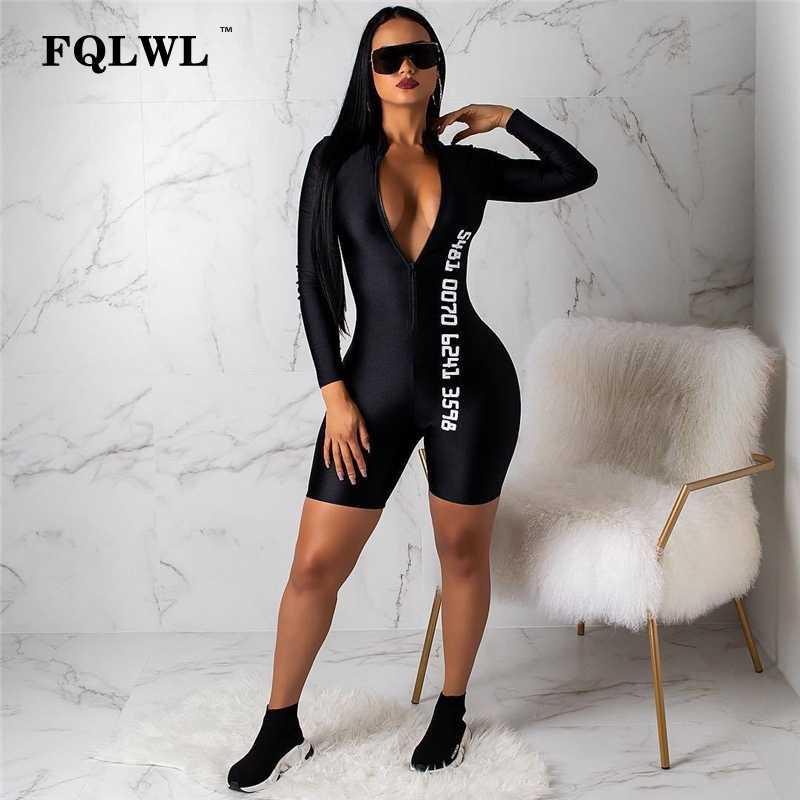 FQLWL negro Bodycon mono Sexy corto para las mujeres de manga larga Fitness Mujer prendas mono mujer Streetwear traje de las mujeres