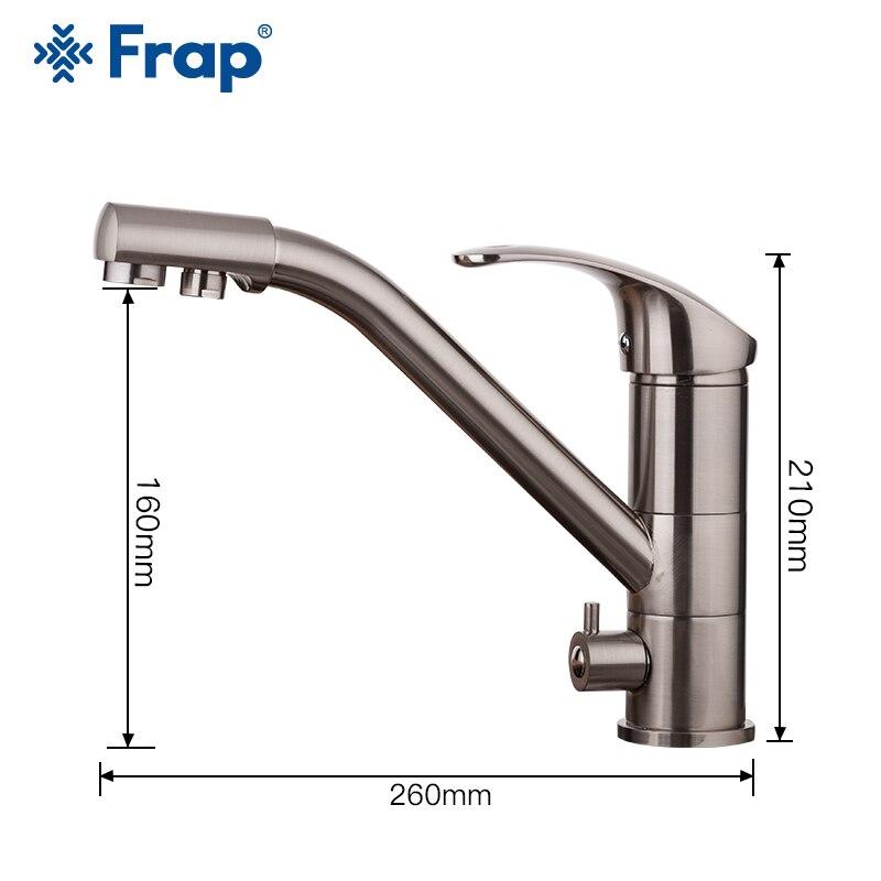 Robinet de cuisine FRAP nickel brossé 360 rotation robinet d'évier de cuisine avec eau filtrée mélangeur robinets robinet d'évier de cuisine - 2