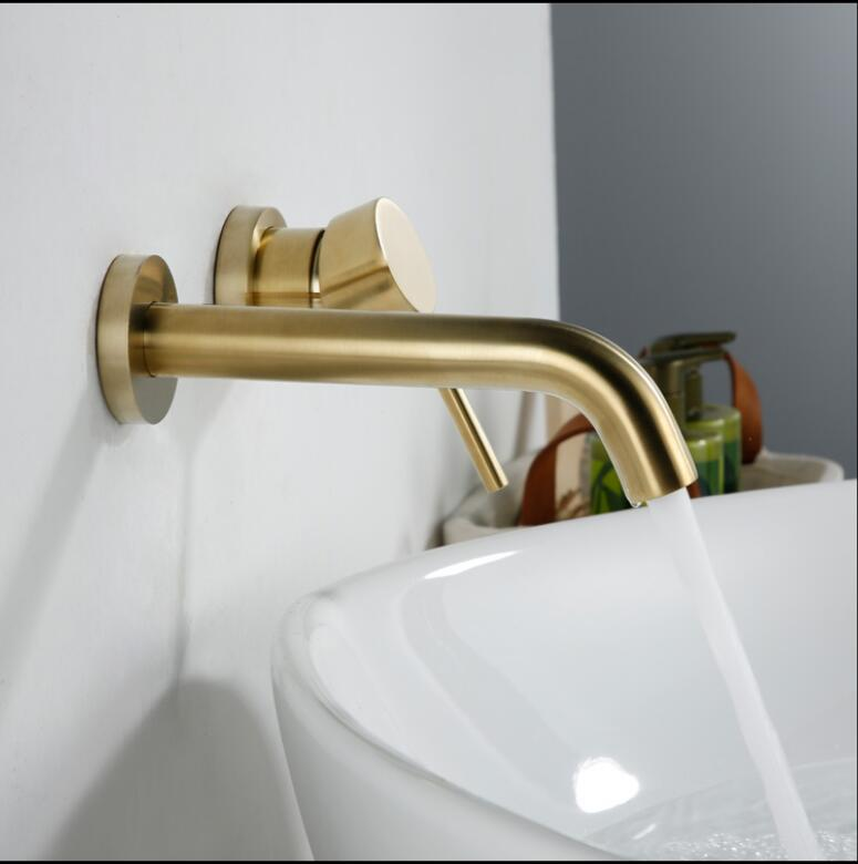 Gold/ Matte Black Oil Brushed/Chrome Brass Wall Mounted Basin Faucet Single Handle Mixer Tap Hot & Cold In wall Basin mixer